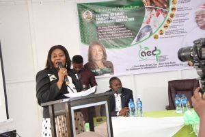 Photo: Commissioner for Agriculture, Dr. Glory Edet delivering a speech at the flag-off